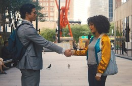 Yara Shahidi and Charles Melton in The Sun is Also A Star.; Credit: Warner Bros.