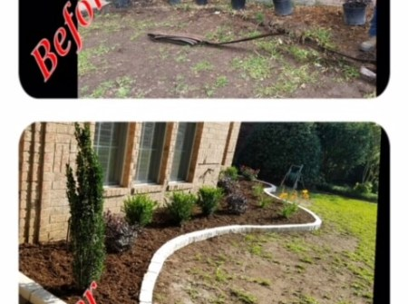 before and after landscaping side house install
