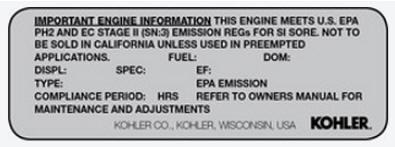 Kohler Courage XT Engine Decal