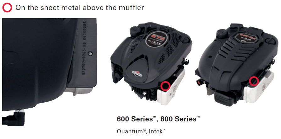 Briggs and Stratton Model Above Muffler Example