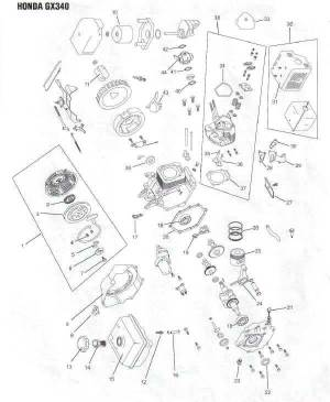 Honda GX340 Engine Parts Diagram | Lawnmower Pros