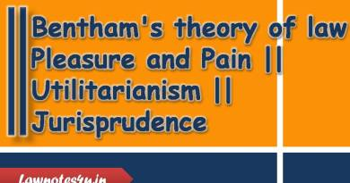 Bentham's theory of law Pleasure and Pain Utilitarianism