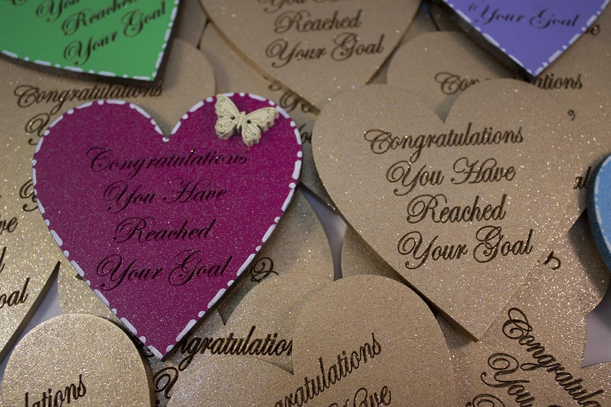 large heart shape magnetic congratilation you;ve reached youir goal