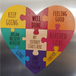 Heart shape jigsaw motivation plaque