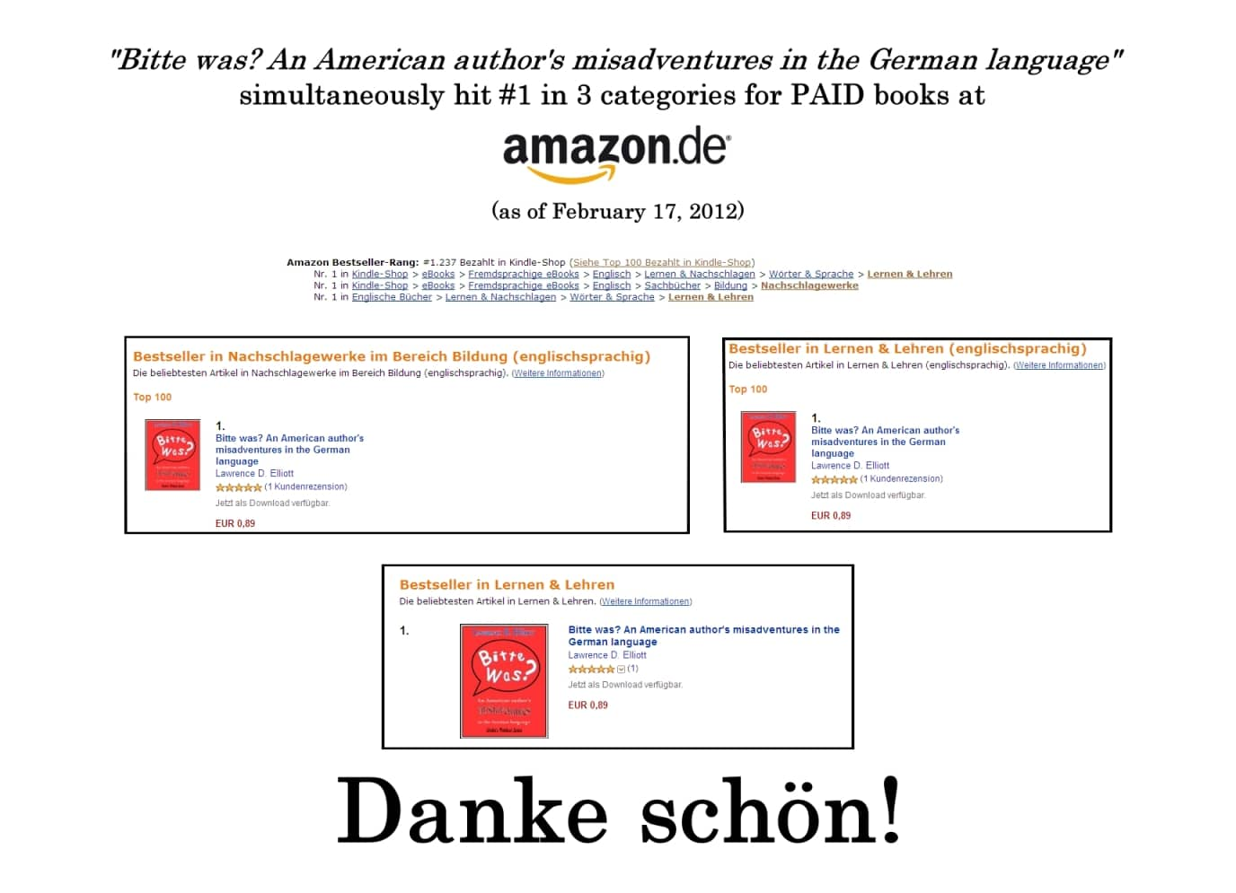 Bitte was? An American author's misadventures in the English language - #1 in 3 separate categories at Amazon.de!