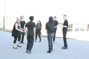 Students involved in a community theatrical production - before the event