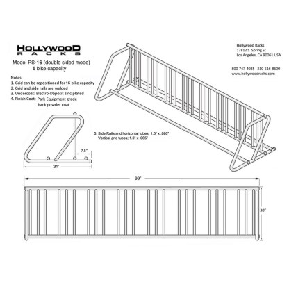 hollywood racks ps16 parking stand 8-16 bikes single side