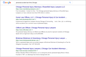 SEO personal accident law firms Chicago