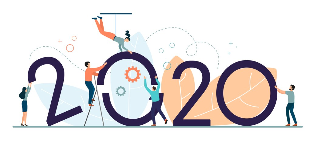 A successful business team builds its work in 2020. Business concept for 2020. Vector illustration in cartoon flat style.