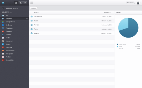 Dropbox files as they appear on Jolidrive.