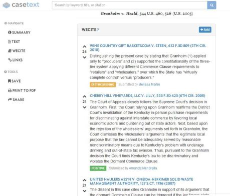 WeCite entries for the Supreme Court case Granholm v. Heald.