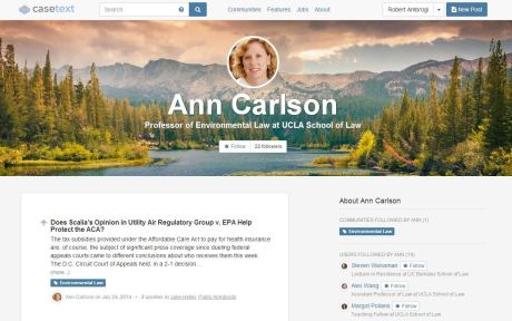 The profile page for Ann Carlson, professor at UCLA School of Law.