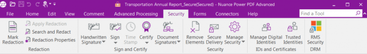 The security toolbar for securing and redacting documents.