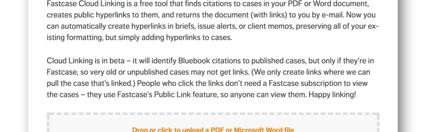 New From Fastcase: Instantly Add Public Hyperlinks to Case Citations in Legal Documents