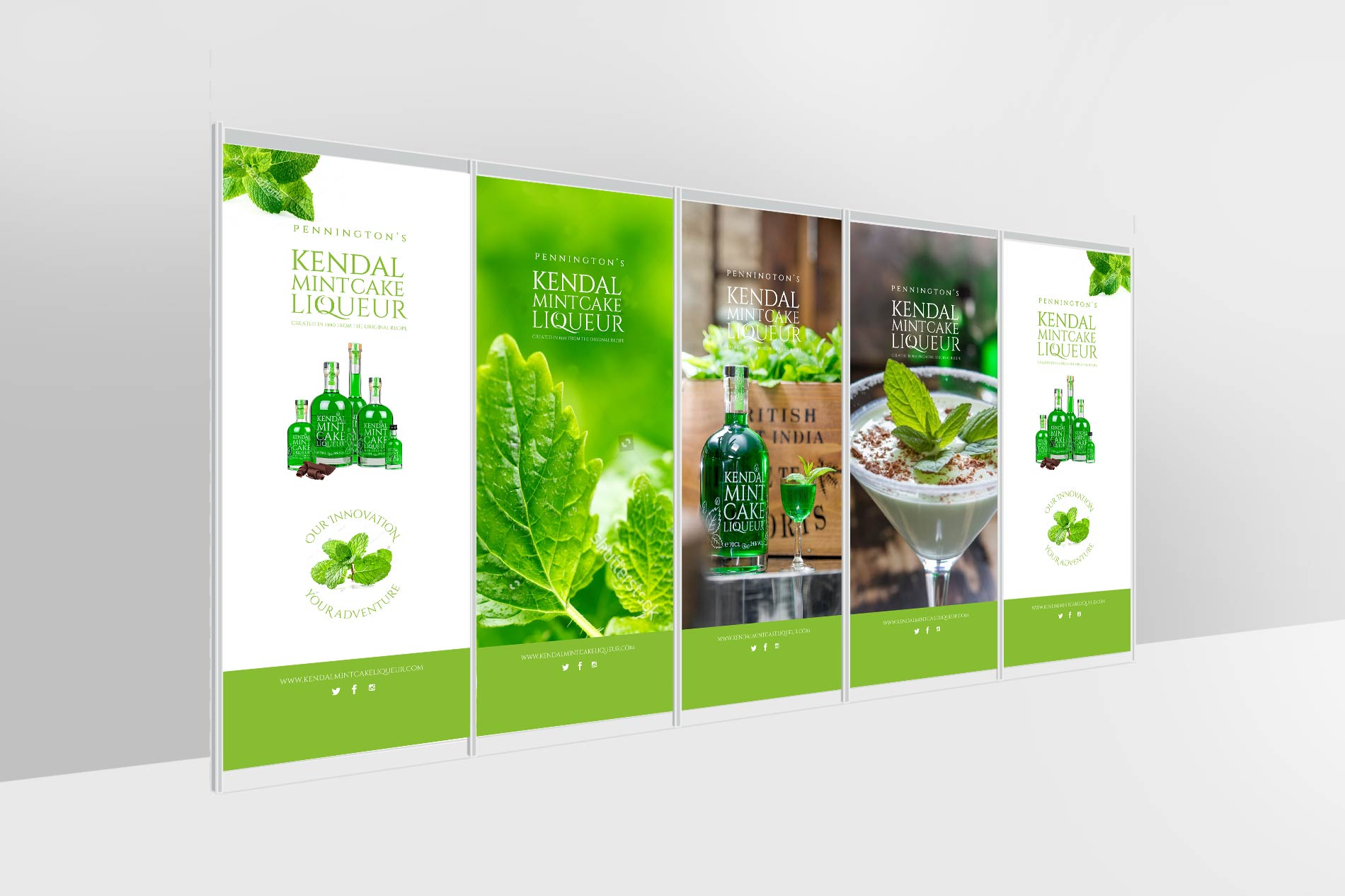Kendal Mint Cake Liqueur Company, Trade stand panel design