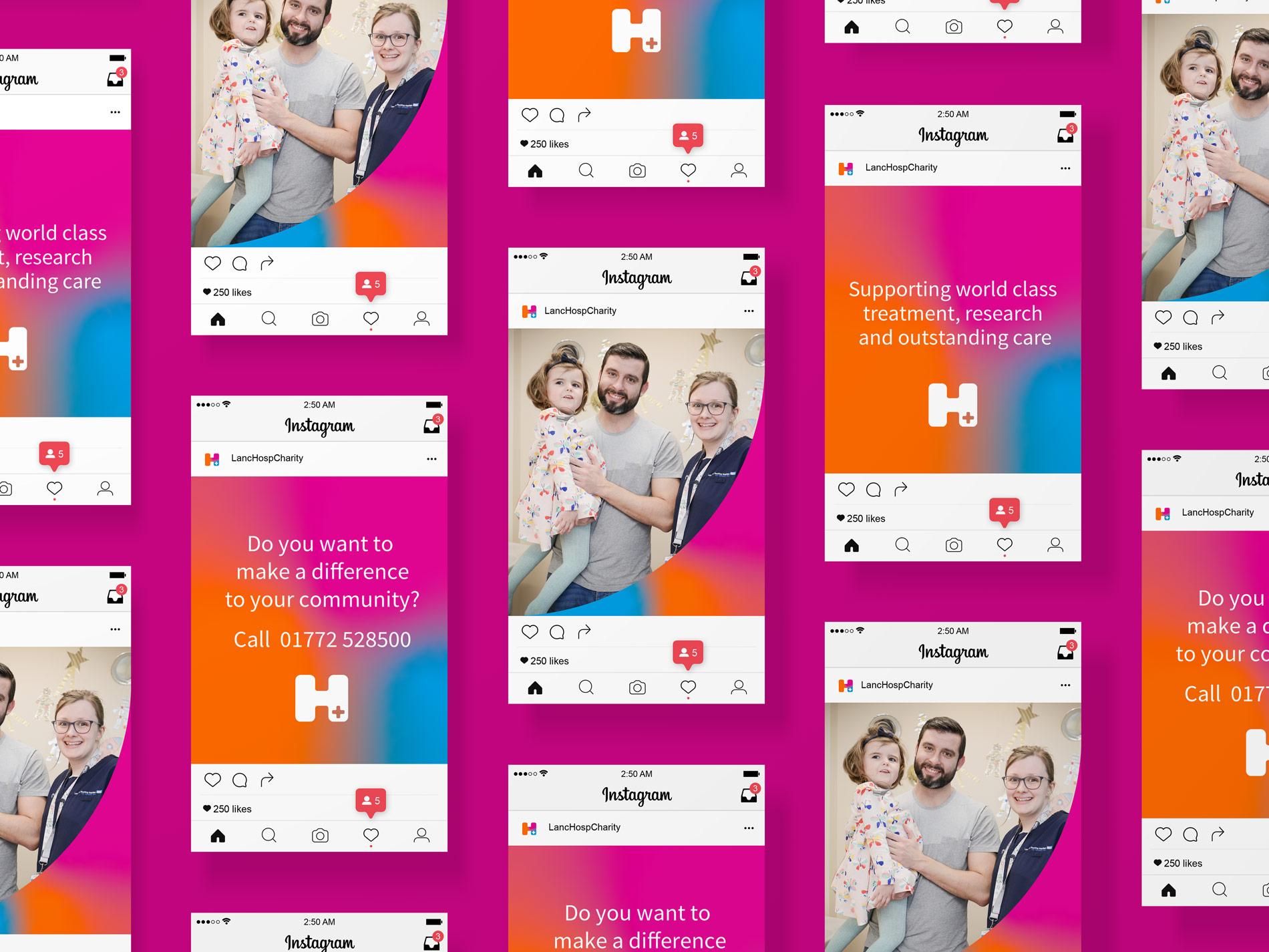 Lancashire Teaching Hospitals Charity Branding on Social Media app