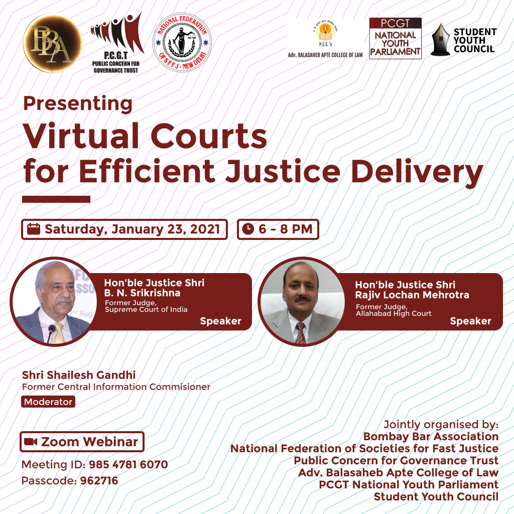PCGT's Webinar onVirtual Courts for Efficient Justice Delivery [Jan 23, 6-8 PM]: Register Now!