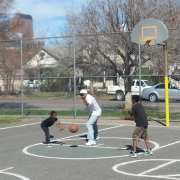 father son basketball lacrosse practice 2 on 1