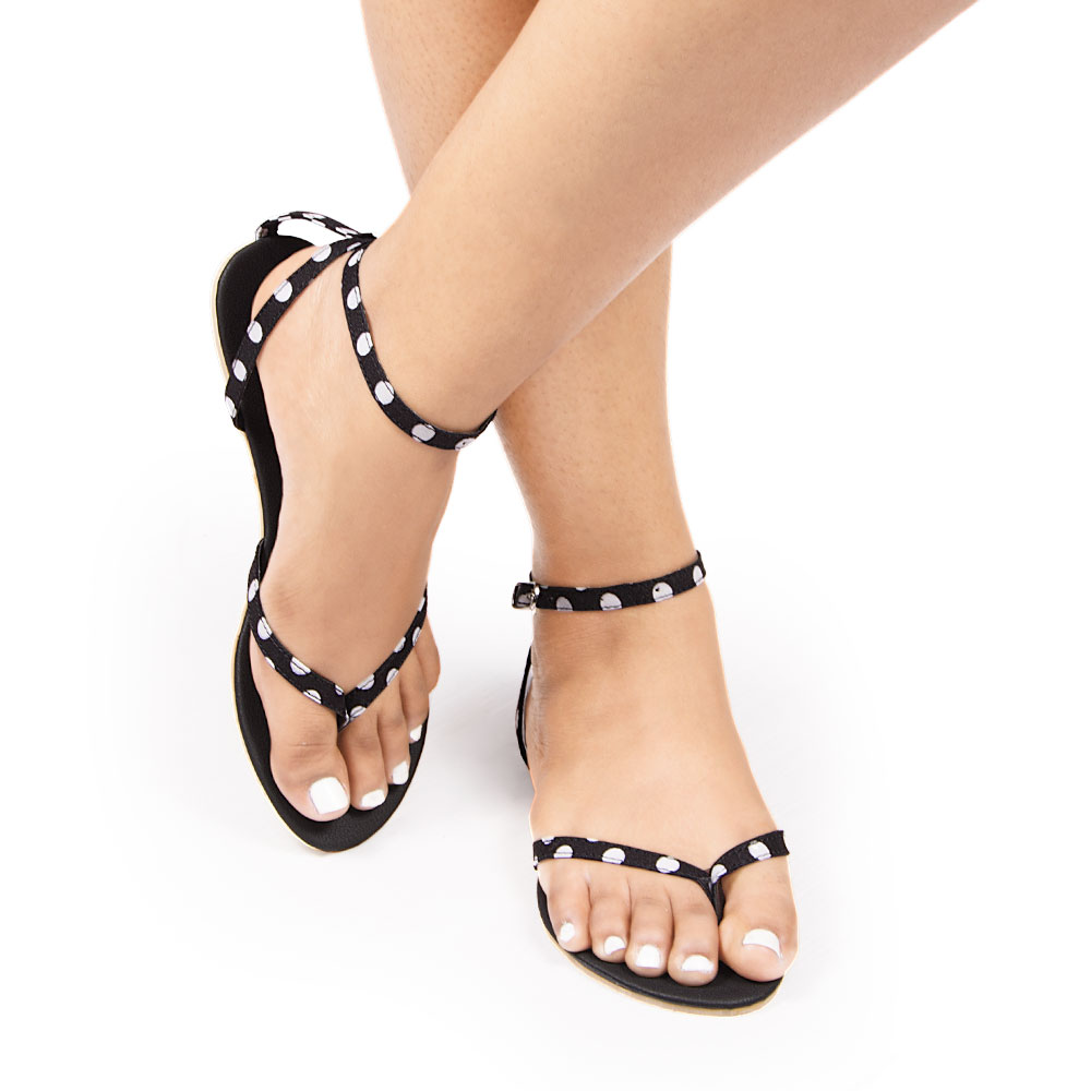 Laydeez Polka Dot Ankle Strap Sandals