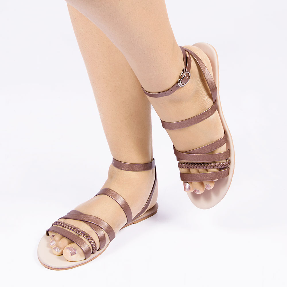Laydeez Bronze Braided Sandals