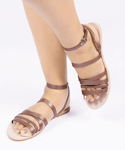Laydeez Bronze Braided Sandals