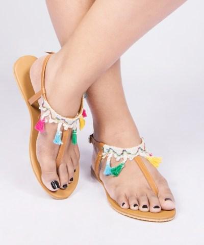 Multi Tassel Thongs Sandals