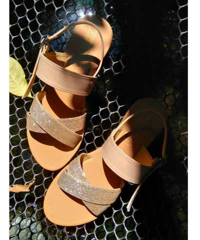 Laydeez Christeena Sandals in Champagne Gold