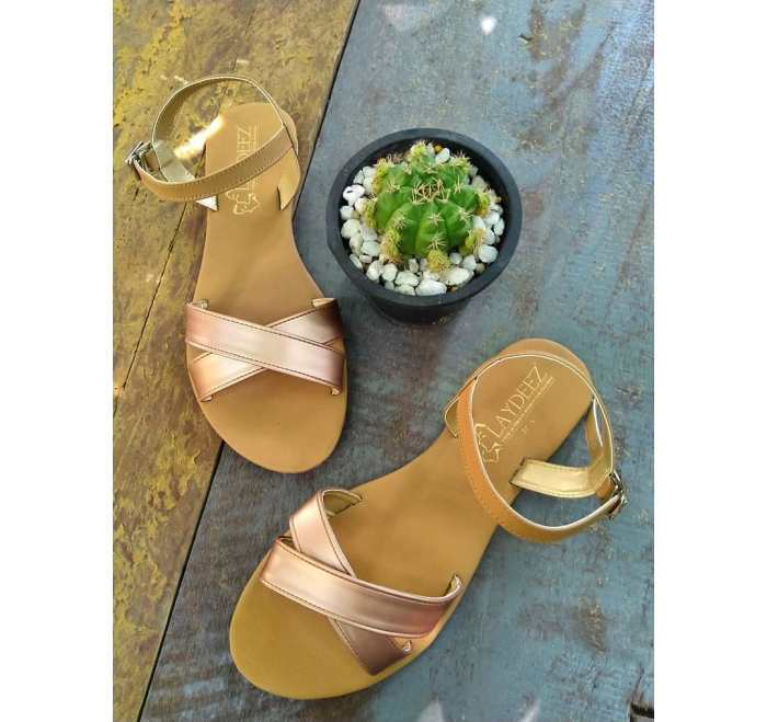Rose Gold Crossover Sandals