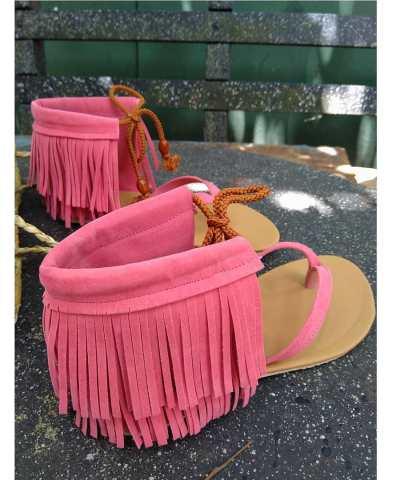 Laydeez Gypsy Tassel Sandals in Pink