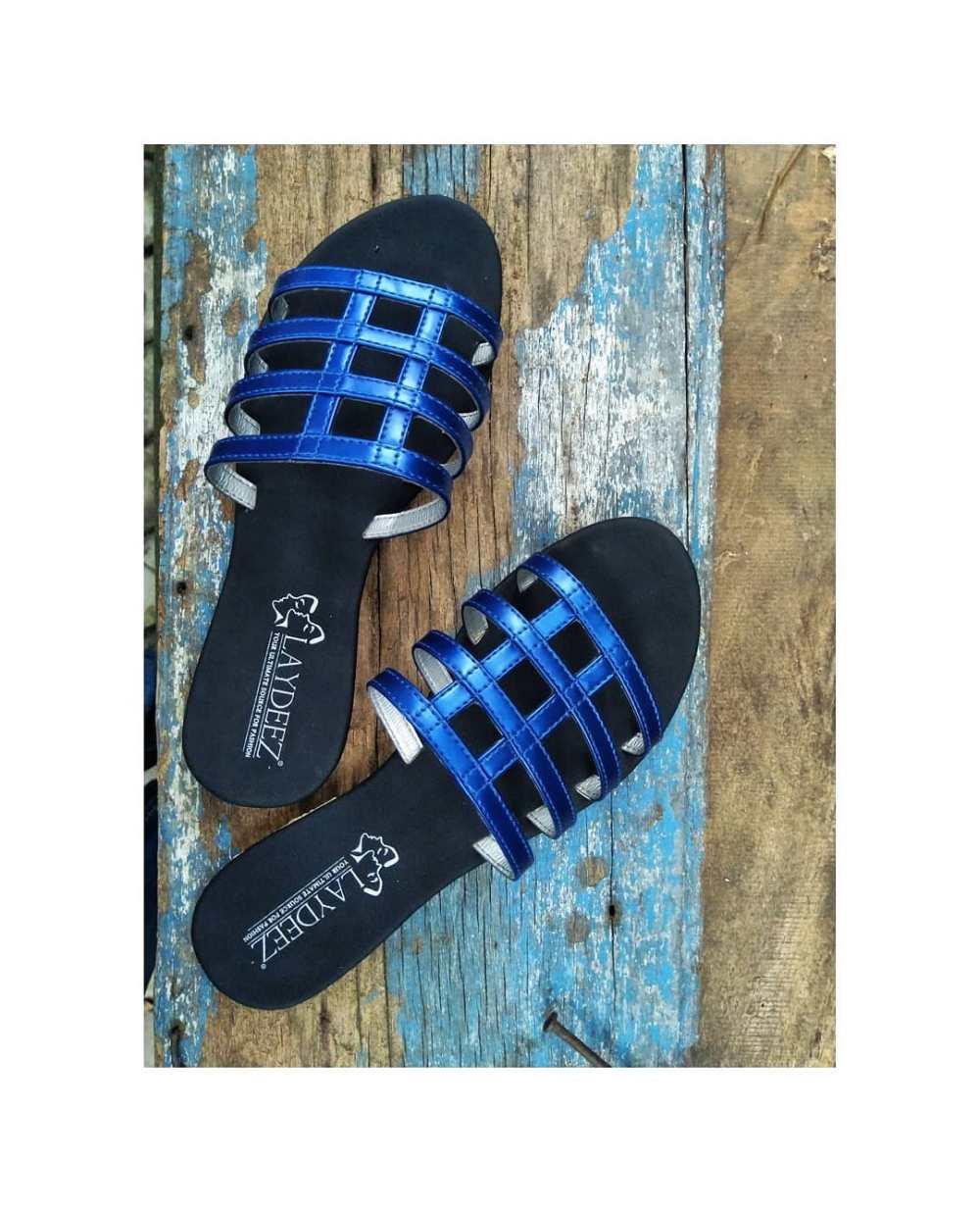 Laydeez Holed Slides in Metallic Blue