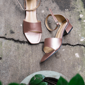 Laydeez Low Block Heel Open Toes in Rose Gold