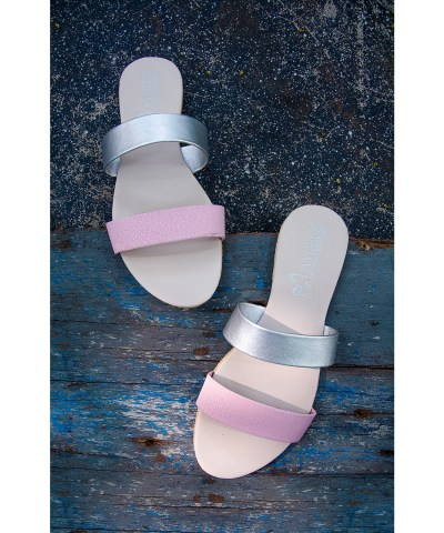 Laydeez Candy Sandals - Nude Pink & Silver