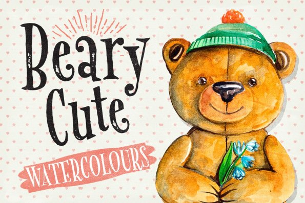Beary Cute Watercolour Illustrations by Layerform Design Co