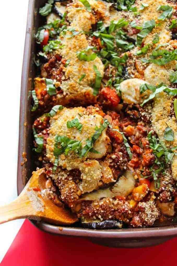 Vegan Eggplant Parmesan Bake - Layers of Happiness