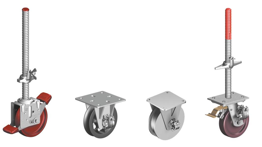 Castors for a wide range scaffolding applications