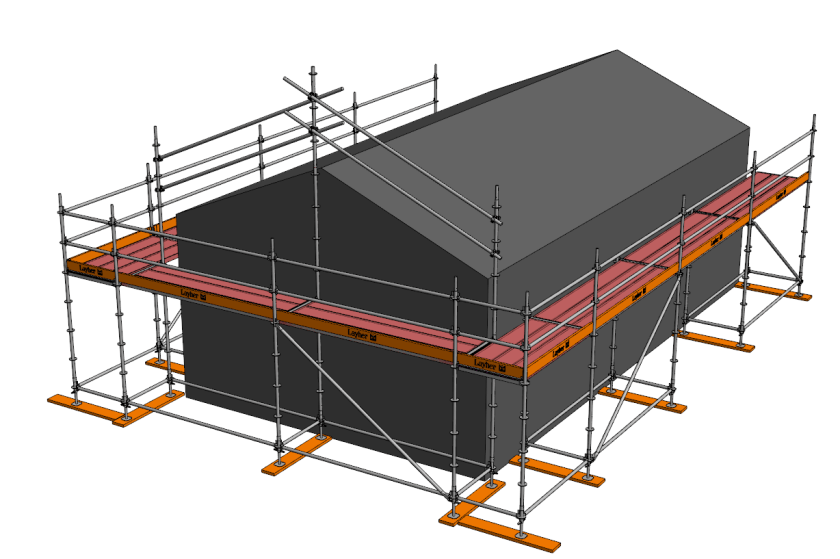 Roof edge protection using Layher Allround Scaffolding system