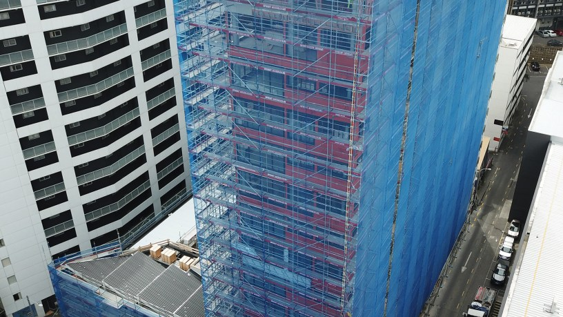 Upright Access Systems using Layher Allround Scaffolding on Queens Square Auckland