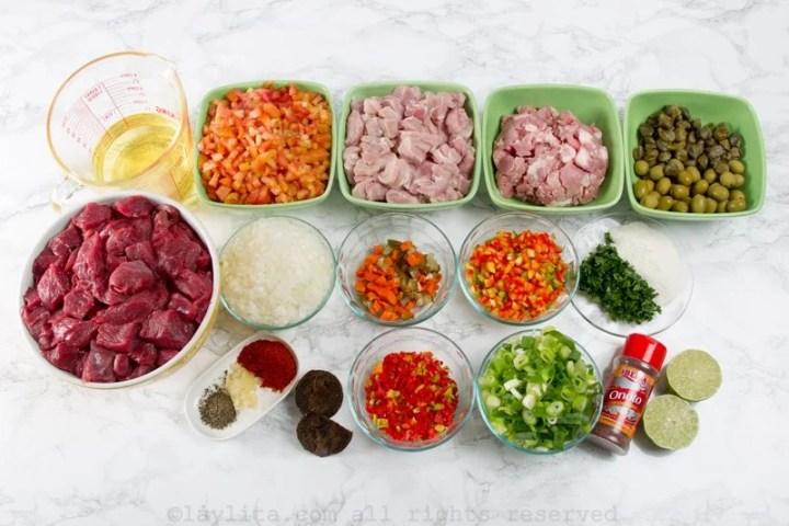 Ingredientes para el guiso y relleno de hallacas