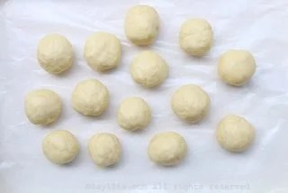 You can either roll out a thin sheet of dough or form the dough into several small balls