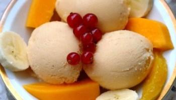 Tropical fruit smoothie {with papaya, pineapple, banana, mango, and