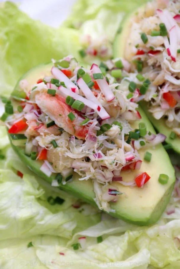 Avocados filled with crab salad