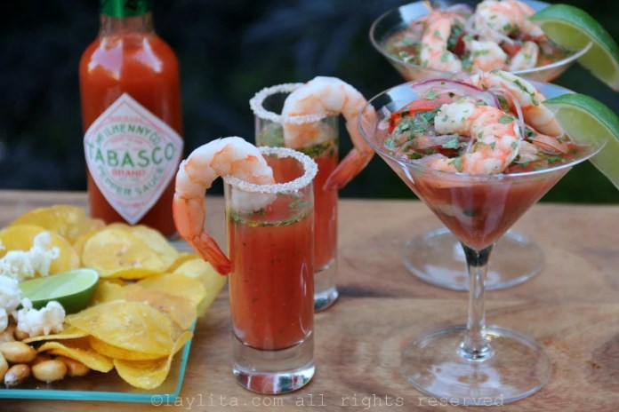 Spicy Bloody Mary shrimp cocktails