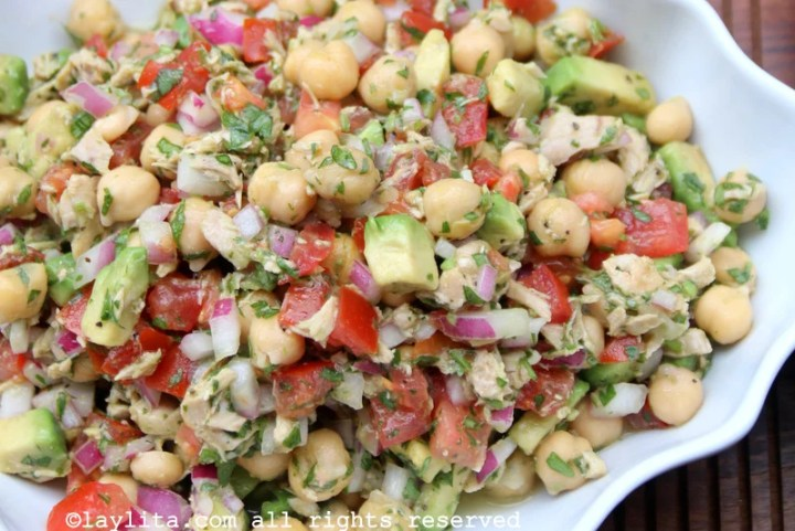 Garbanzo or chickpea salad with avocado and tuna fish