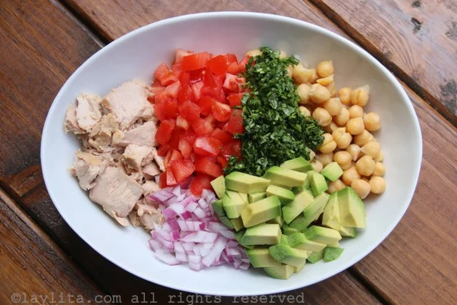 Ingredients for chickpea or garbanzo salad with avocado and tuna