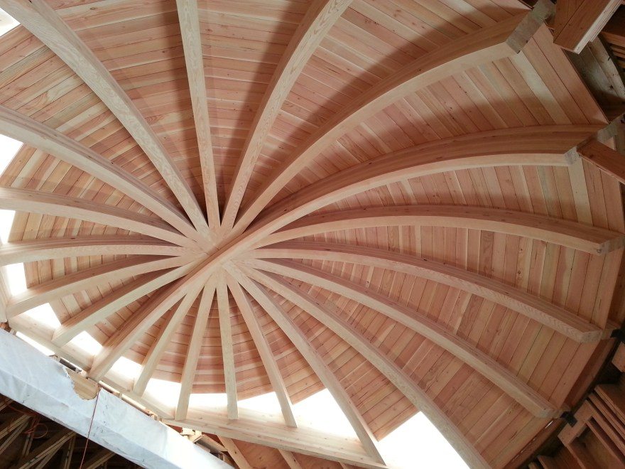 This is a picture of the dome ceiling (aka the office ceiling). The tongue and grove paneling wasn't quite done at this point.