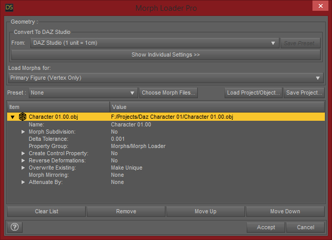 Daz Studio Morph Loader Pro Defaults
