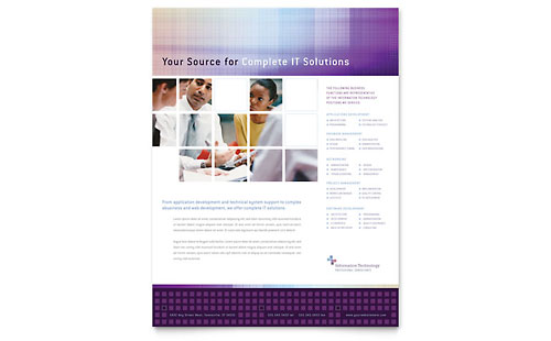 Information Technology Brochure Template Word Amp Publisher