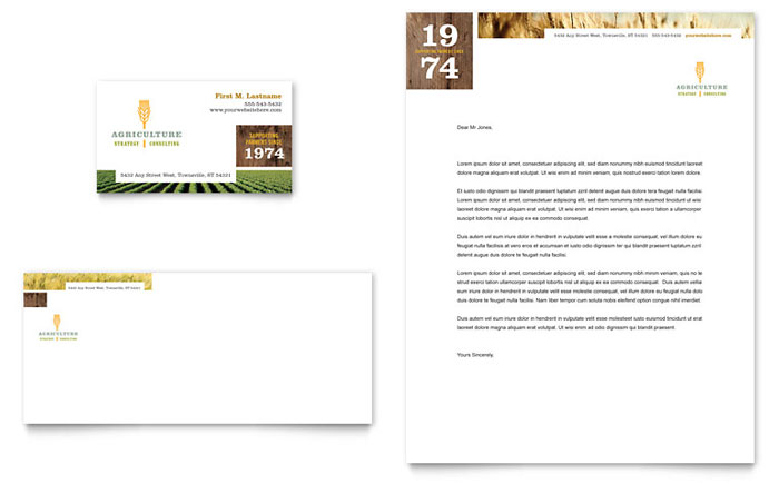 Farming Agriculture Business Card Letterhead Template
