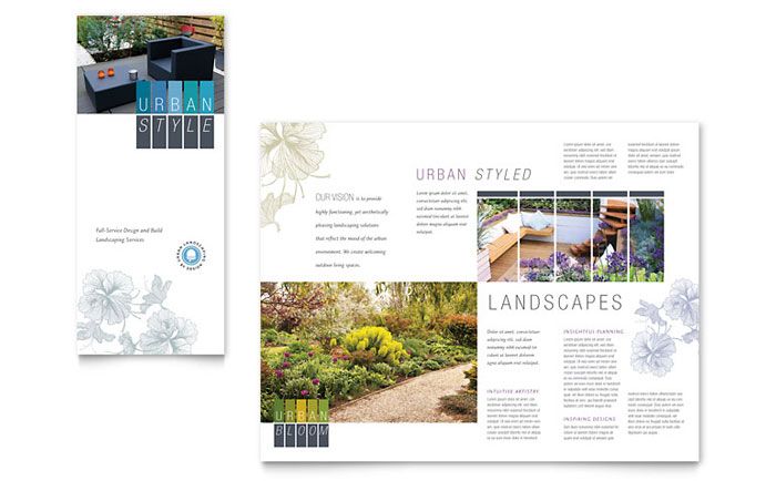 Urban Landscaping Tri Fold Brochure Template Word Amp Publisher
