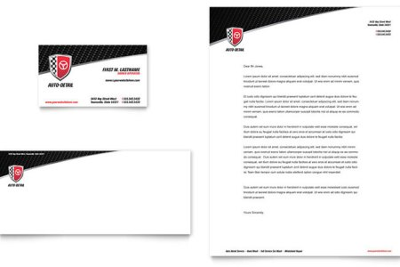 Auto Detailing Business Card   Letterhead Template   Word   Publisher